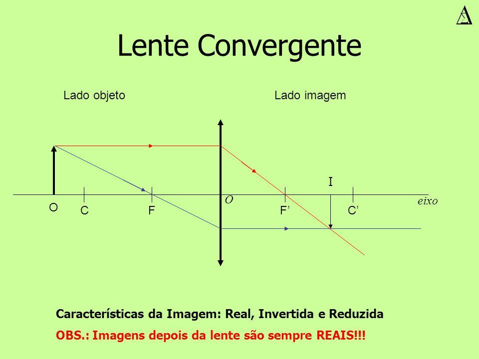 Lente Convergente O Características da Imagem: Real, Invertida e Reduzida OBS.: Imagens depois da lente são sempre REAIS!!! FF CC eixo O I Lado objeto
