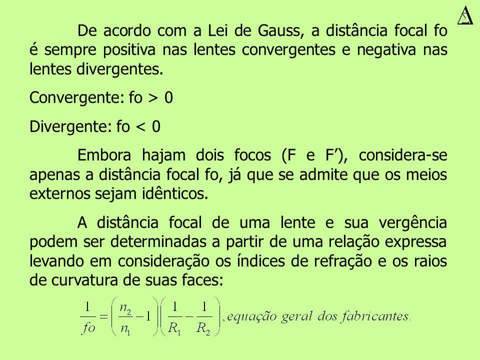 De acordo com a Lei de Gauss, a distância focal fo é sempre positiva nas lentes convergentes e negativa nas lentes divergentes. Convergente: fo > 0 Di