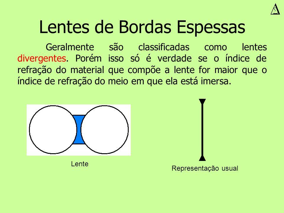 Lentes de Bordas Espessas Geralmente são classificadas como lentes divergentes. Porém isso só é verdade se o índice de refração do material que compõe