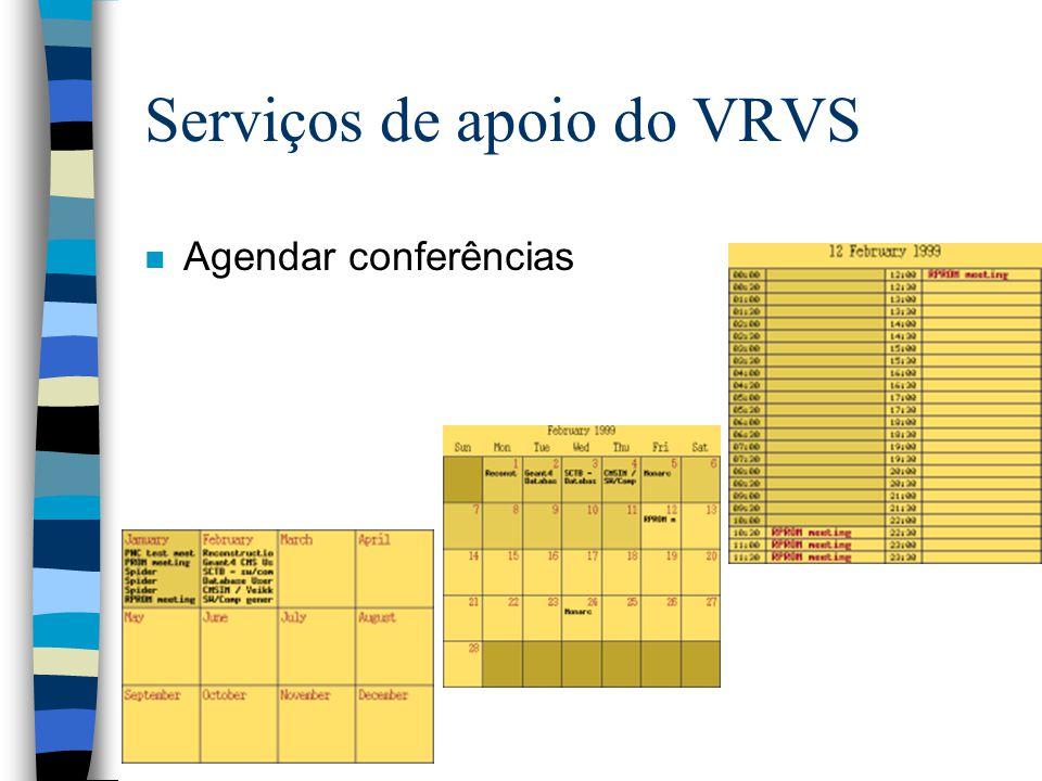 Serviços de apoio do VRVS n Agendar conferências