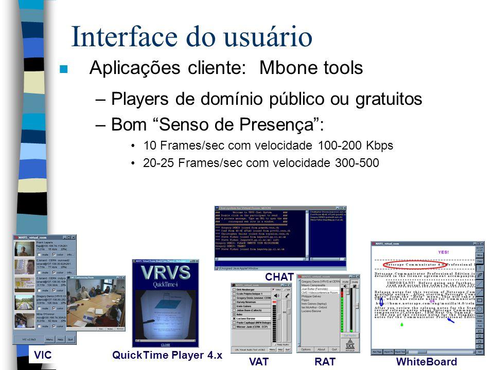 Interface do usuário n Aplicações cliente: Mbone tools –Players de domínio público ou gratuitos –Bom Senso de Presença: 10 Frames/sec com velocidade 100-200 Kbps 20-25 Frames/sec com velocidade 300-500 RAT VAT VIC QuickTime Player 4.x CHAT WhiteBoard
