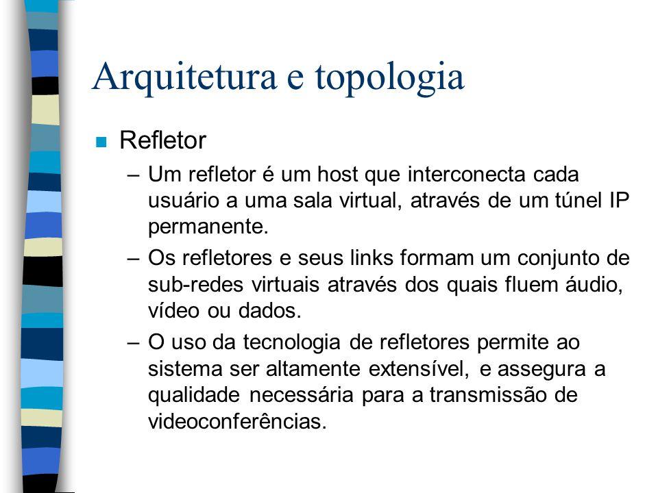 Arquitetura e topologia n Refletor –Um refletor é um host que interconecta cada usuário a uma sala virtual, através de um túnel IP permanente. –Os ref