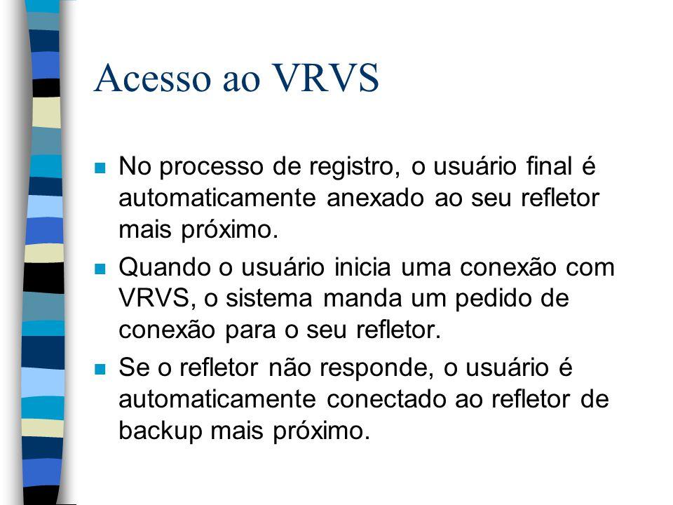Acesso ao VRVS n No processo de registro, o usuário final é automaticamente anexado ao seu refletor mais próximo. n Quando o usuário inicia uma conexã