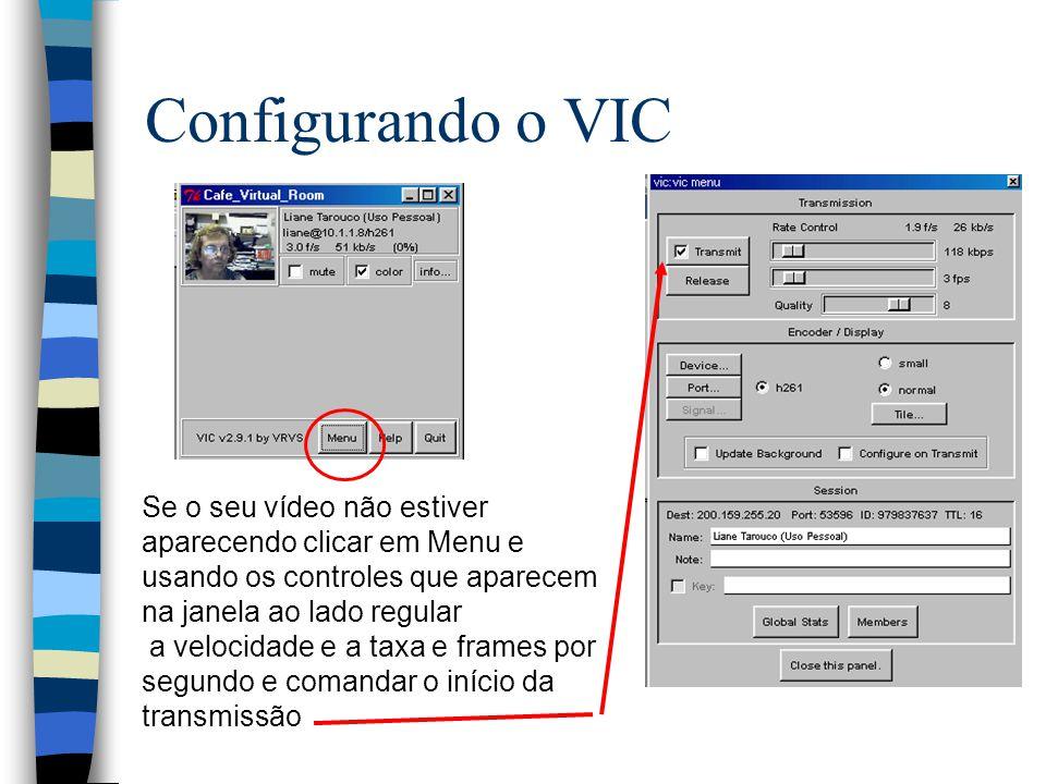 Configurando o VIC Se o seu vídeo não estiver aparecendo clicar em Menu e usando os controles que aparecem na janela ao lado regular a velocidade e a taxa e frames por segundo e comandar o início da transmissão