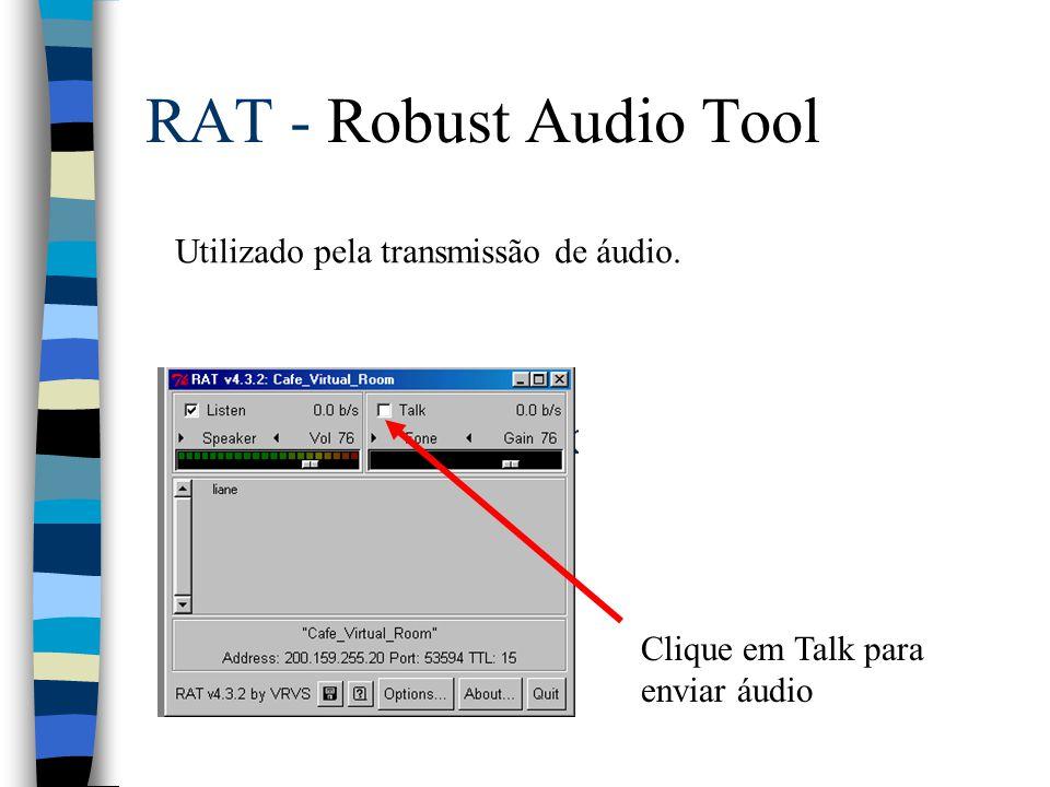 RAT - Robust Audio Tool Clique em Talk para enviar áudio Utilizado pela transmissão de áudio.