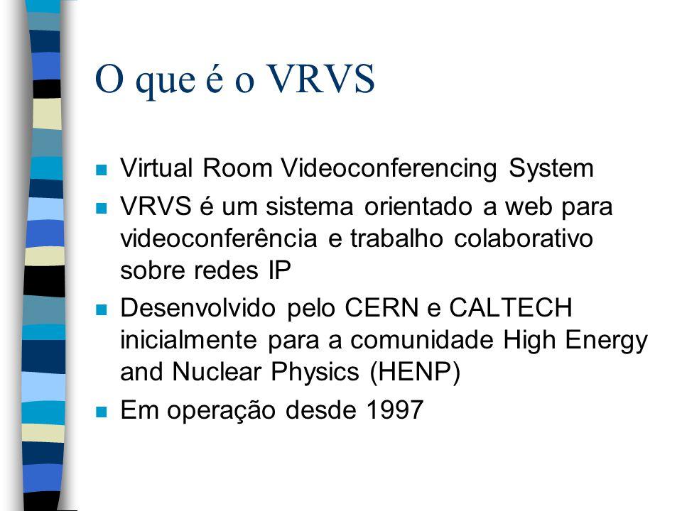 O que é o VRVS n Virtual Room Videoconferencing System n VRVS é um sistema orientado a web para videoconferência e trabalho colaborativo sobre redes IP n Desenvolvido pelo CERN e CALTECH inicialmente para a comunidade High Energy and Nuclear Physics (HENP) n Em operação desde 1997