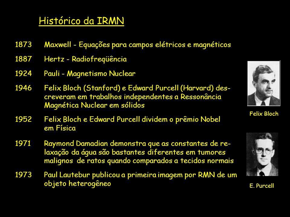 Histórico da IRMN 1873Maxwell - Equações para campos elétricos e magnéticos 1887Hertz - Radiofreqüência 1924Pauli - Magnetismo Nuclear 1946Felix Bloch