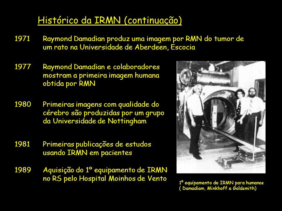 1º equipamento de IRMN para humanos ( Damadiam, Minkhoff e Goldsmith) Histórico da IRMN (continuação) 1971Raymond Damadian produz uma imagem por RMN d