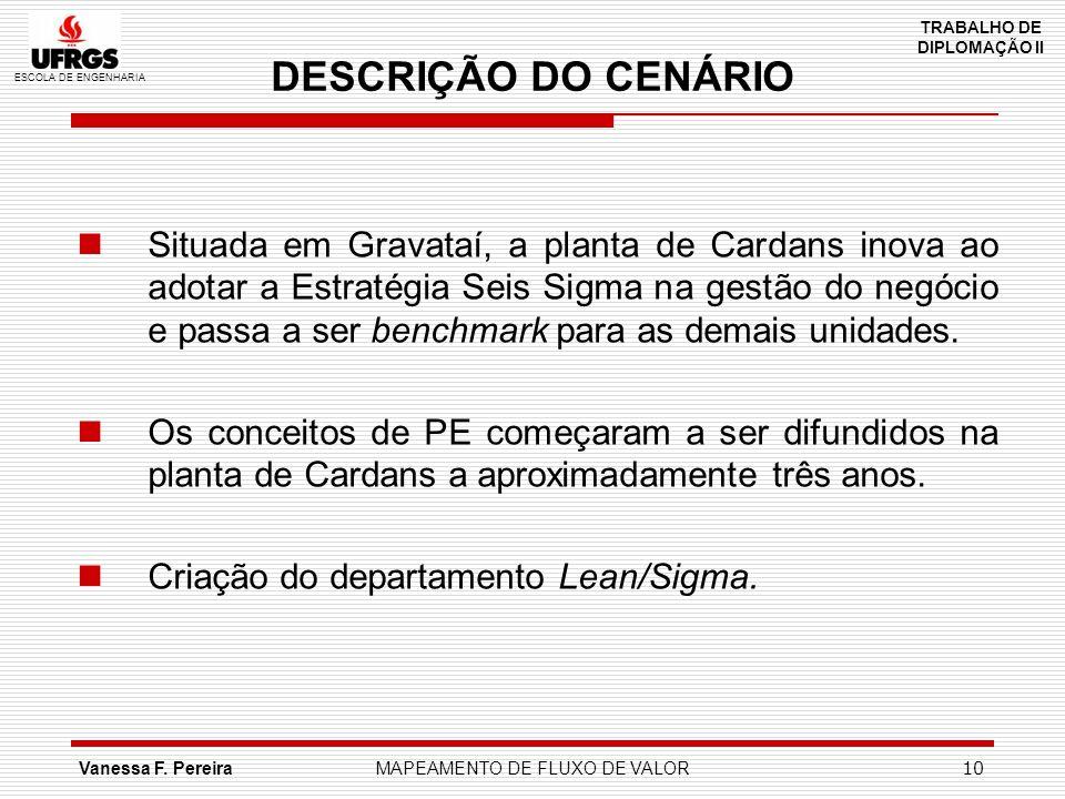 ESCOLA DE ENGENHARIA TRABALHO DE DIPLOMAÇÃO II Vanessa F. PereiraMAPEAMENTO DE FLUXO DE VALOR 10 DESCRIÇÃO DO CENÁRIO Situada em Gravataí, a planta de