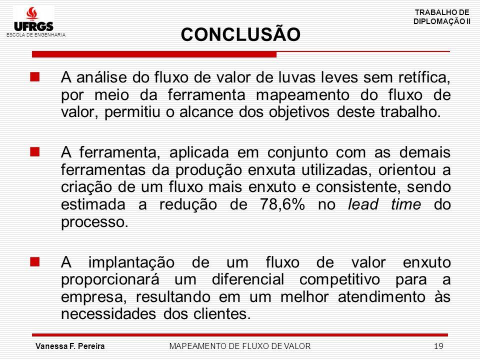 ESCOLA DE ENGENHARIA TRABALHO DE DIPLOMAÇÃO II Vanessa F. PereiraMAPEAMENTO DE FLUXO DE VALOR 19 CONCLUSÃO A análise do fluxo de valor de luvas leves