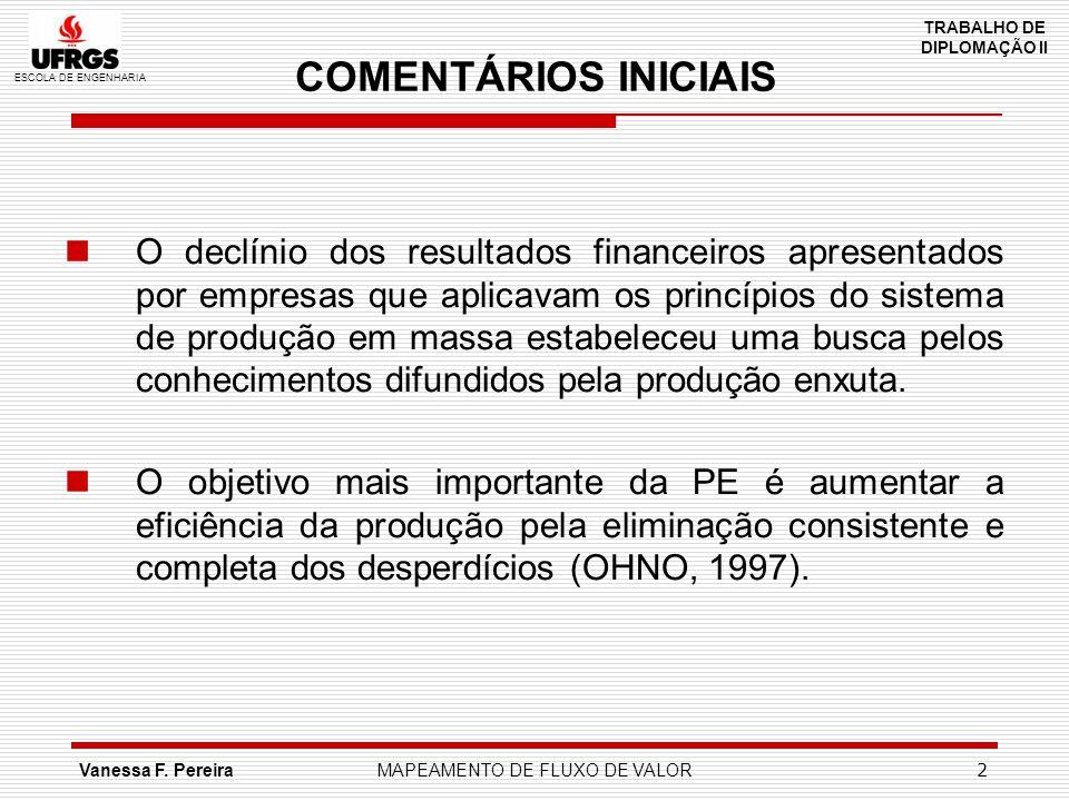 ESCOLA DE ENGENHARIA TRABALHO DE DIPLOMAÇÃO II Vanessa F. PereiraMAPEAMENTO DE FLUXO DE VALOR 2 COMENTÁRIOS INICIAIS O declínio dos resultados finance