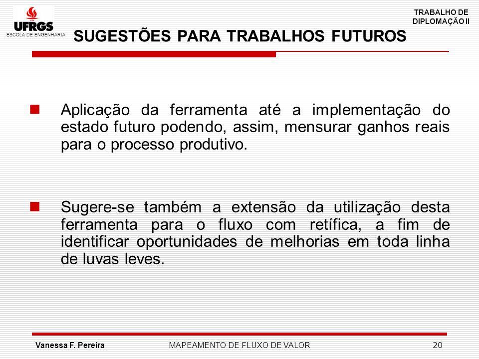 ESCOLA DE ENGENHARIA TRABALHO DE DIPLOMAÇÃO II Vanessa F. PereiraMAPEAMENTO DE FLUXO DE VALOR 20 SUGESTÕES PARA TRABALHOS FUTUROS Aplicação da ferrame