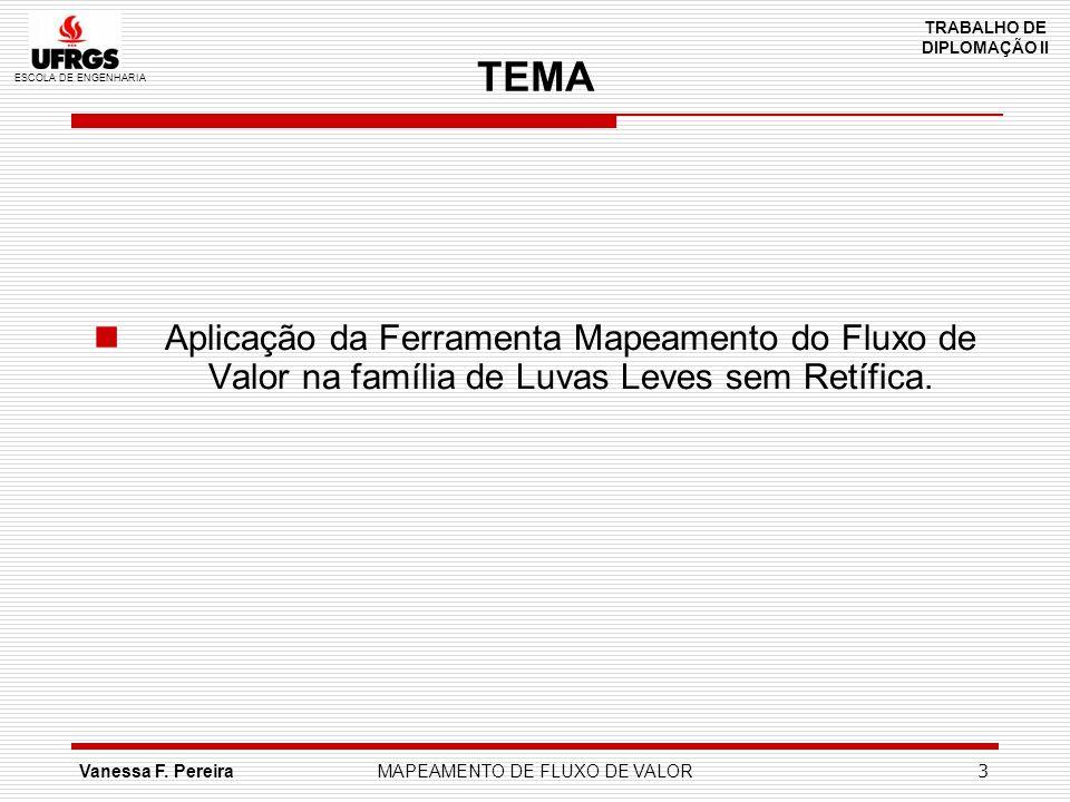 ESCOLA DE ENGENHARIA TRABALHO DE DIPLOMAÇÃO II Vanessa F. PereiraMAPEAMENTO DE FLUXO DE VALOR 3 TEMA Aplicação da Ferramenta Mapeamento do Fluxo de Va