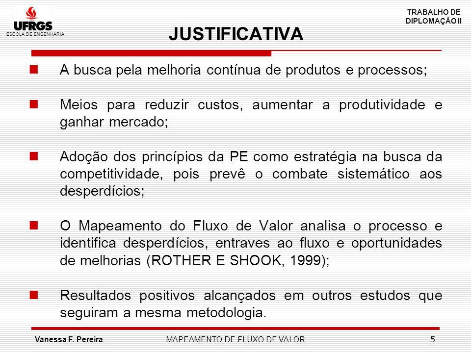 ESCOLA DE ENGENHARIA TRABALHO DE DIPLOMAÇÃO II Vanessa F. PereiraMAPEAMENTO DE FLUXO DE VALOR 5 JUSTIFICATIVA A busca pela melhoria contínua de produt