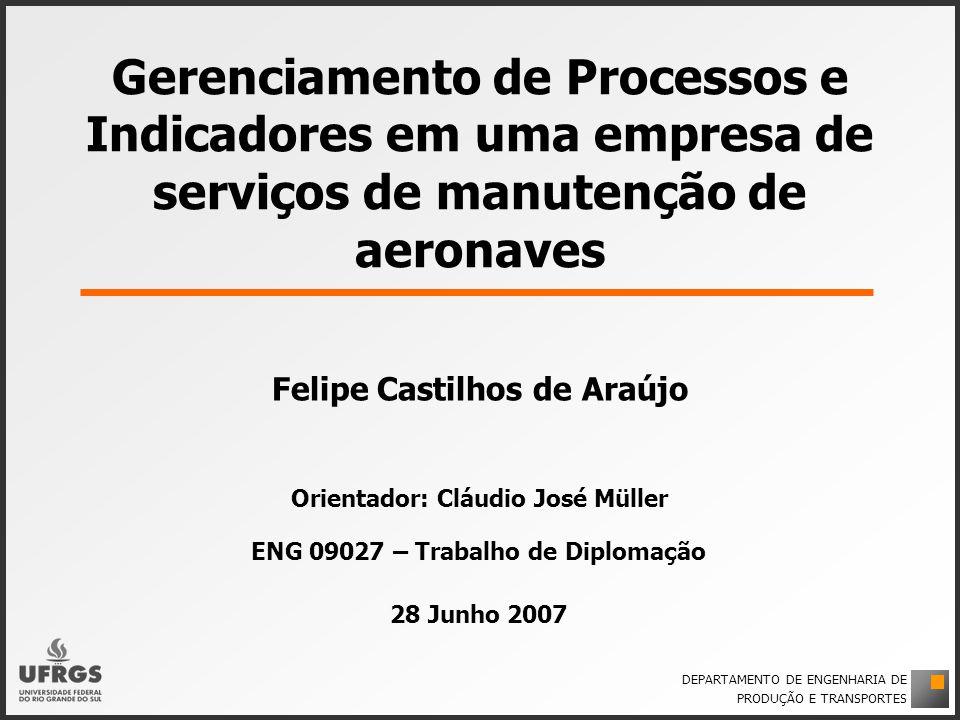 Gerenciamento de Processos e Indicadores em uma empresa de serviços de manutenção de aeronaves Felipe Castilhos de Araújo Orientador: Cláudio José Mül