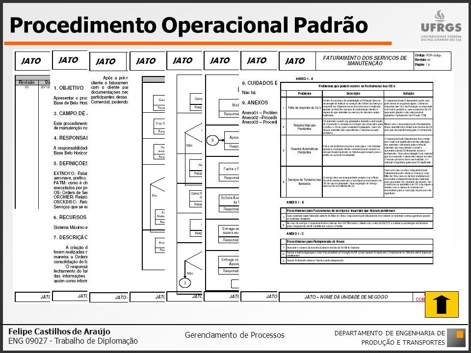 Procedimento Operacional Padrão Felipe Castilhos de Araújo ENG 09027 - Trabalho de Diplomação Gerenciamento de Processos DEPARTAMENTO DE ENGENHARIA DE