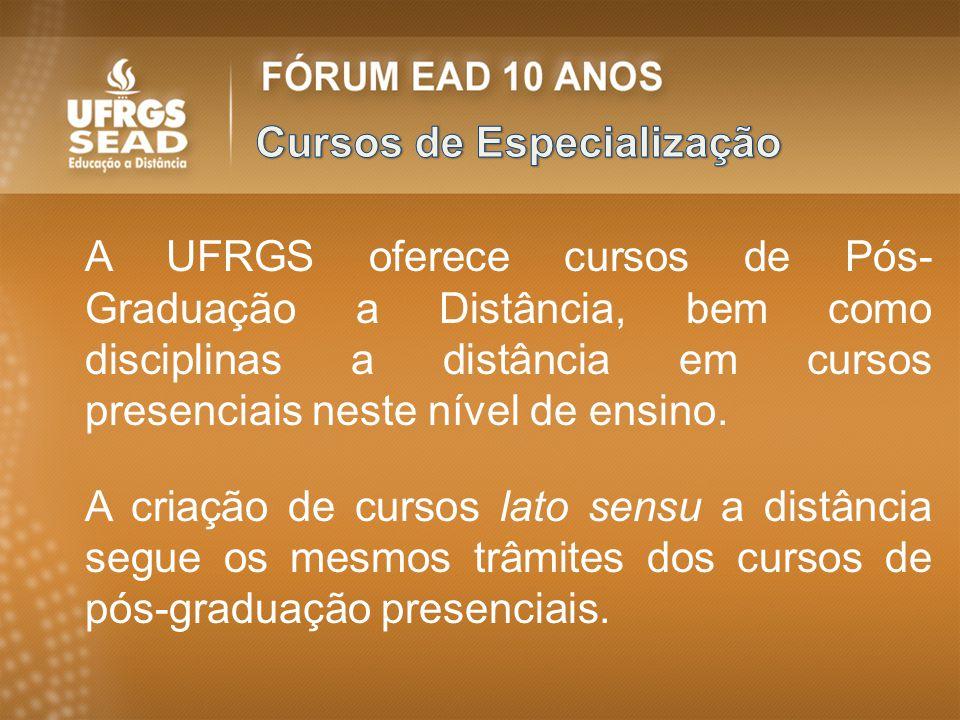 A UFRGS oferece cursos de Pós- Graduação a Distância, bem como disciplinas a distância em cursos presenciais neste nível de ensino. A criação de curso
