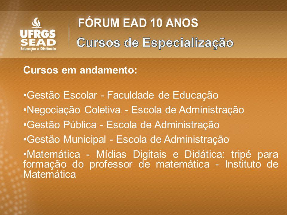 Cursos em andamento: Gestão Escolar - Faculdade de Educação Negociação Coletiva - Escola de Administração Gestão Pública - Escola de Administração Ges