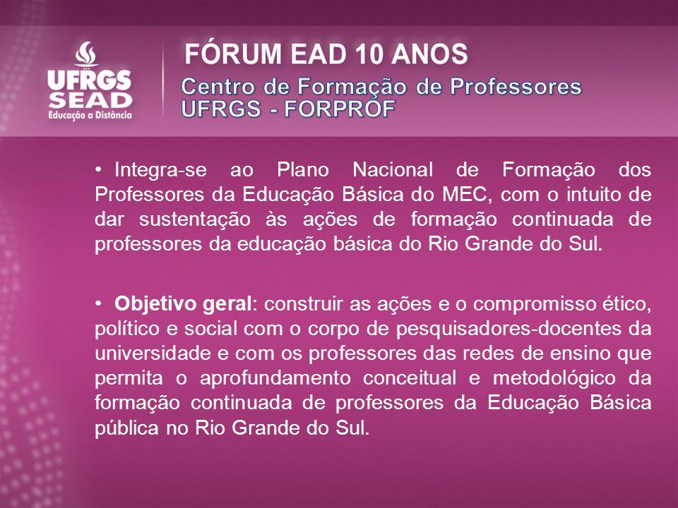 Integra-se ao Plano Nacional de Formação dos Professores da Educação Básica do MEC, com o intuito de dar sustentação às ações de formação continuada d