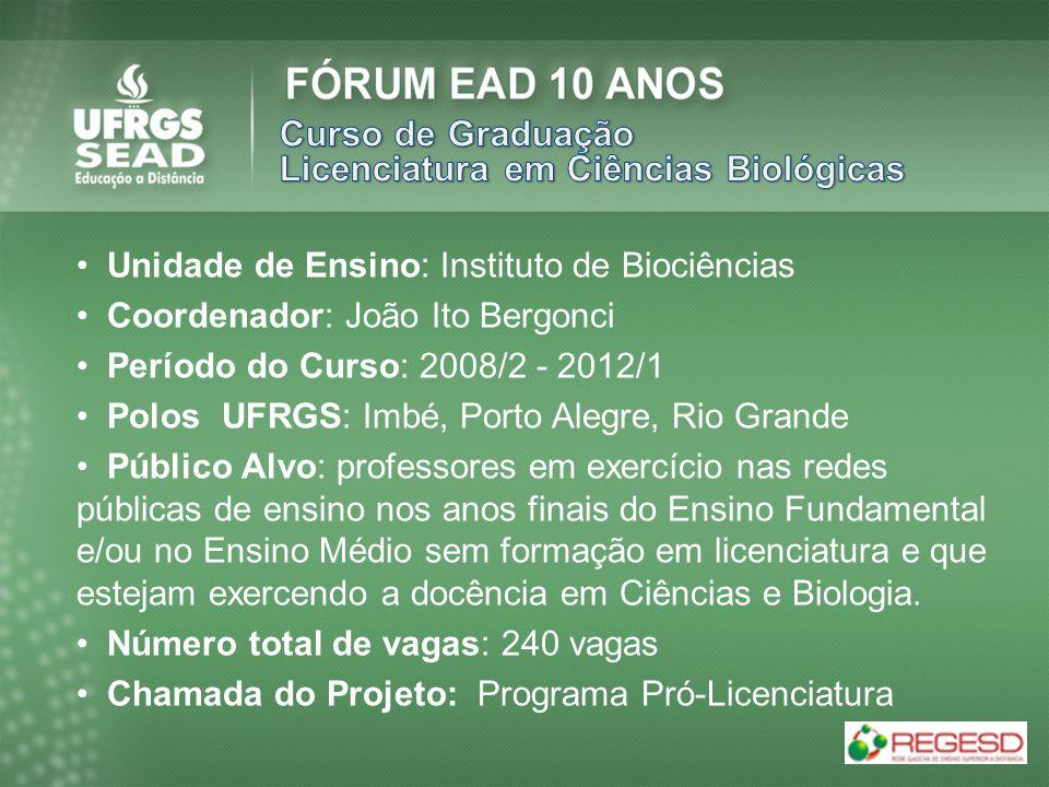 Unidade de Ensino: Instituto de Biociências Coordenador: João Ito Bergonci Período do Curso: 2008/2 - 2012/1 Polos UFRGS: Imbé, Porto Alegre, Rio Gran