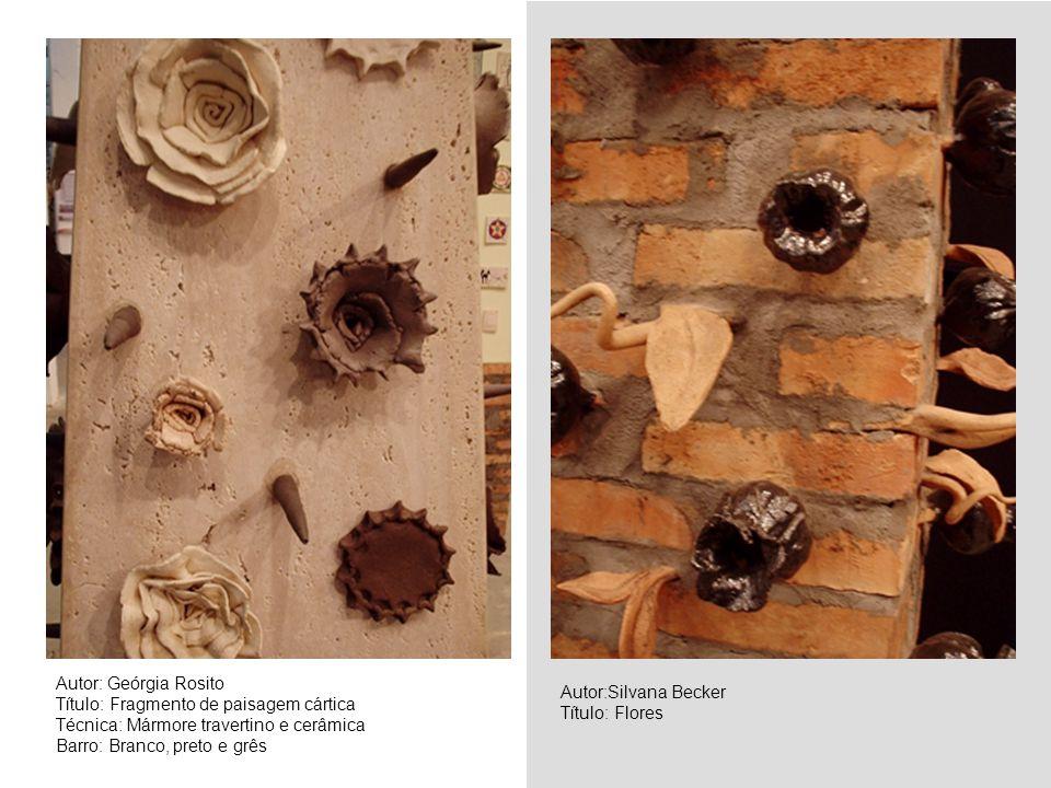Autor: Geórgia Rosito Título: Fragmento de paisagem cártica Técnica: Mármore travertino e cerâmica Barro: Branco, preto e grês Autor:Silvana Becker Tí