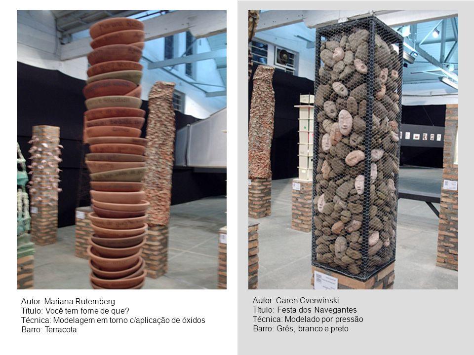 Autor: Fernanda Barroso Título: Cubos Técnica: Placas, tijolos, madeira Barro: Vários Autor: Jane Cainelli Título: Sem título Técnica: Modelagem em gesso Barro: Porcelana