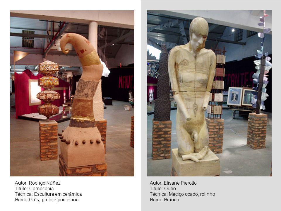 Autor: Rodrigo Núñez Título: Cornocópia Técnica: Escultura em cerâmica Barro: Grês, preto e porcelana Autor: Elisane Pierotto Título: Outro Técnica: M