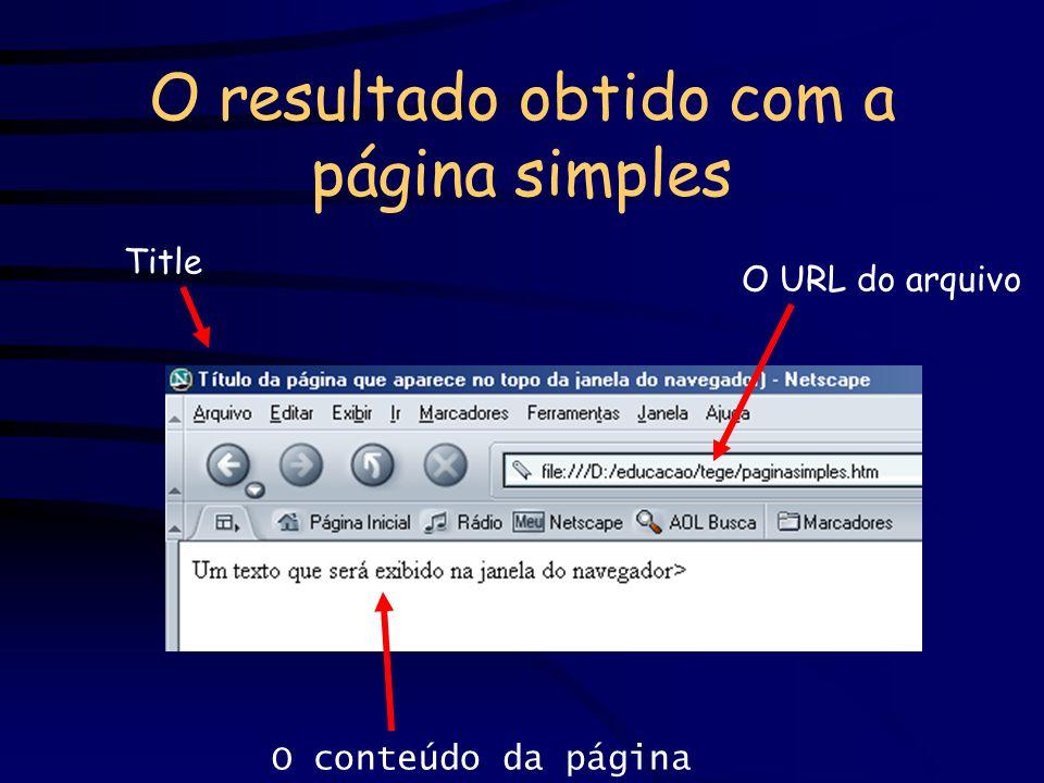 O resultado obtido com a página simples Title O URL do arquivo O conteúdo da página
