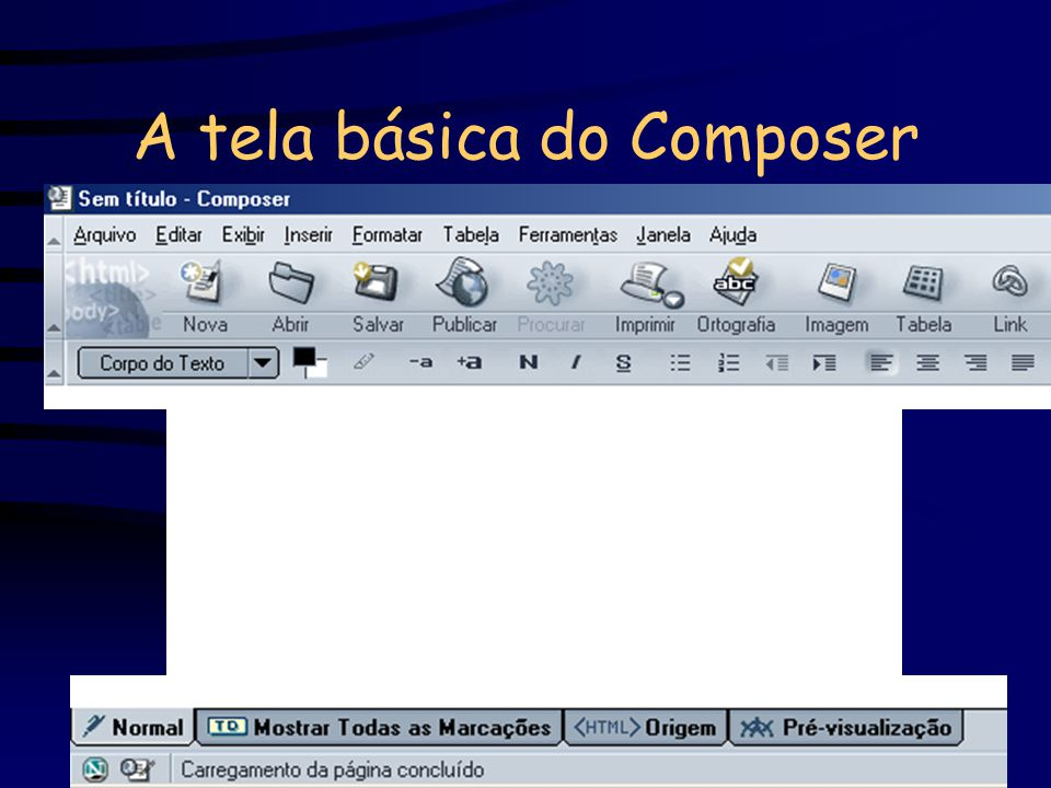 A tela básica do Composer