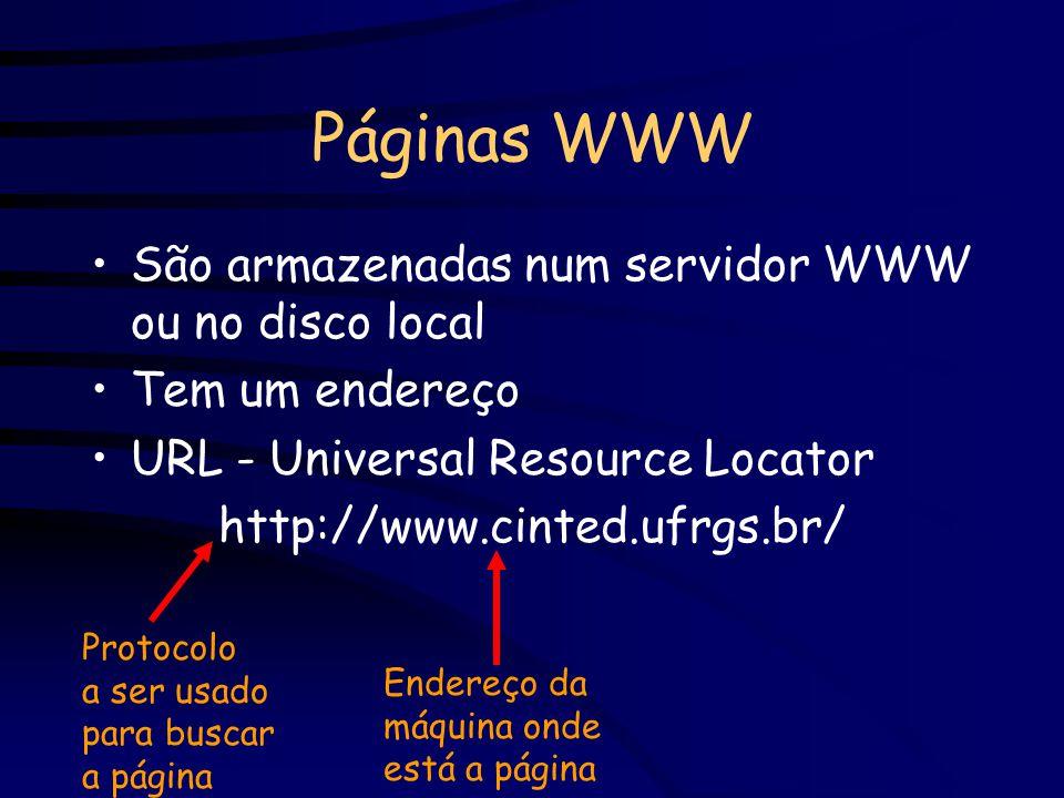 Páginas WWW São armazenadas num servidor WWW ou no disco local Tem um endereço URL - Universal Resource Locator http://www.cinted.ufrgs.br/ Protocolo