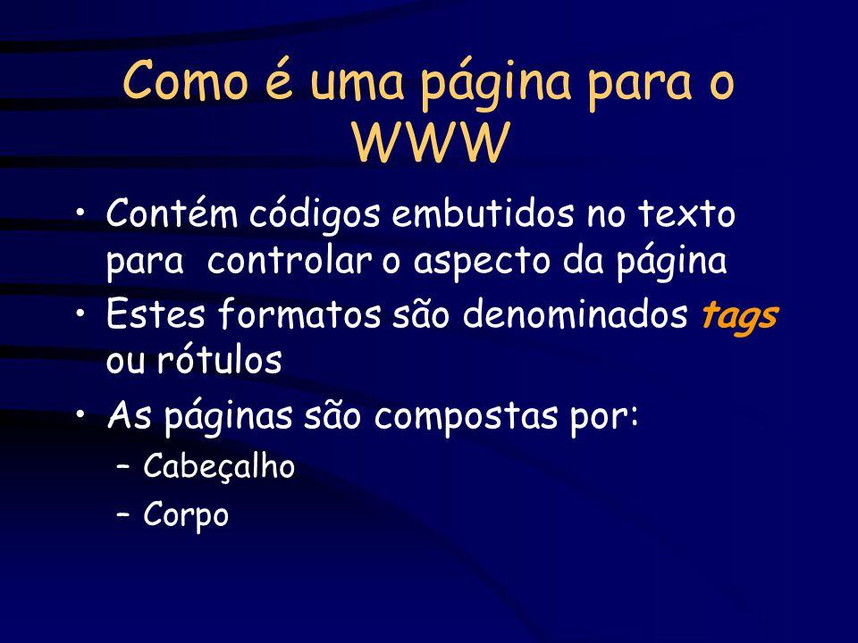 Como é uma página para o WWW Contém códigos embutidos no texto para controlar o aspecto da página Estes formatos são denominados tags ou rótulos As pá
