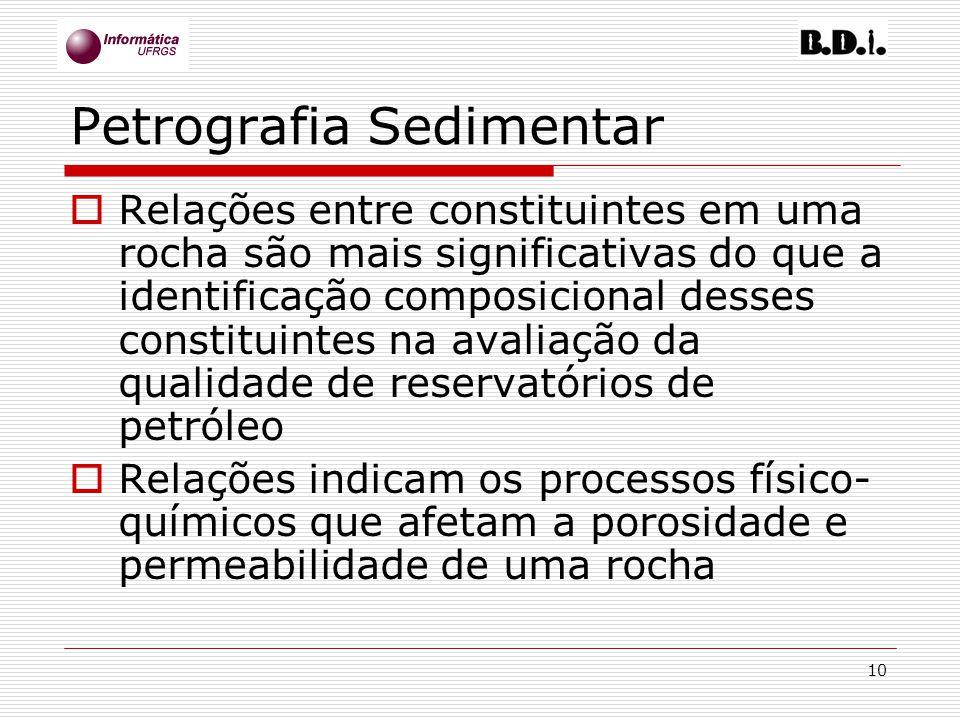 10 Petrografia Sedimentar Relações entre constituintes em uma rocha são mais significativas do que a identificação composicional desses constituintes