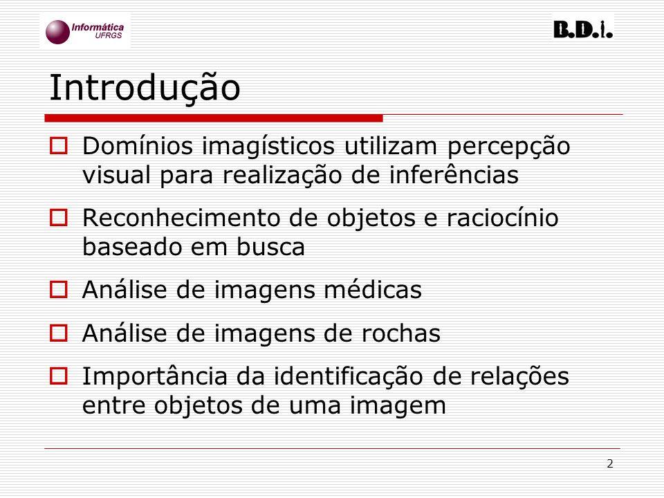 2 Introdução Domínios imagísticos utilizam percepção visual para realização de inferências Reconhecimento de objetos e raciocínio baseado em busca Aná
