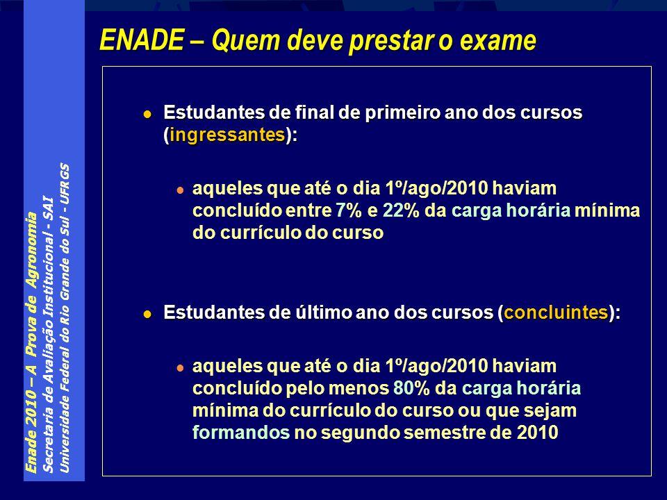 Enade 2010 – A Prova de Agronomia Secretaria de Avaliação Institucional - SAI Universidade Federal do Rio Grande do Sul - UFRGS Estudantes de final de