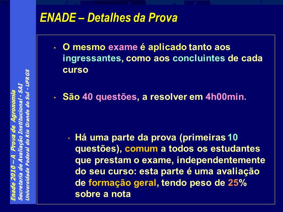 Enade 2010 – A Prova de Agronomia Secretaria de Avaliação Institucional - SAI Universidade Federal do Rio Grande do Sul - UFRGS O mesmo exame é aplica