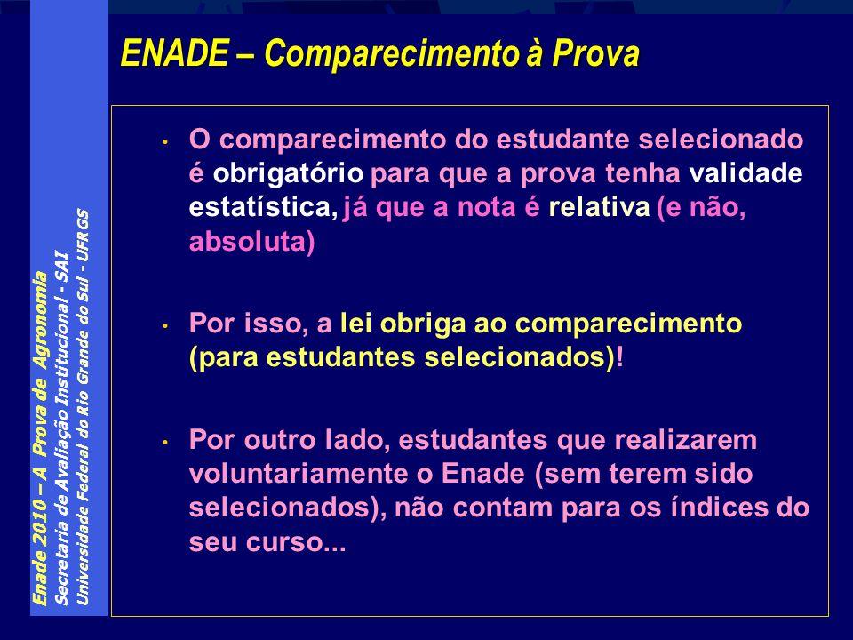 Enade 2010 – A Prova de Agronomia Secretaria de Avaliação Institucional - SAI Universidade Federal do Rio Grande do Sul - UFRGS O comparecimento do es
