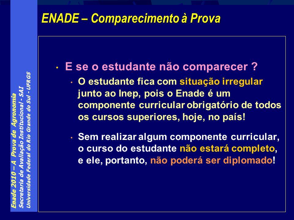 Enade 2010 – A Prova de Agronomia Secretaria de Avaliação Institucional - SAI Universidade Federal do Rio Grande do Sul - UFRGS E se o estudante não c