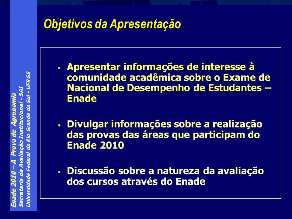 Enade 2010 – A Prova de Agronomia Secretaria de Avaliação Institucional - SAI Universidade Federal do Rio Grande do Sul - UFRGS Apresentar informações