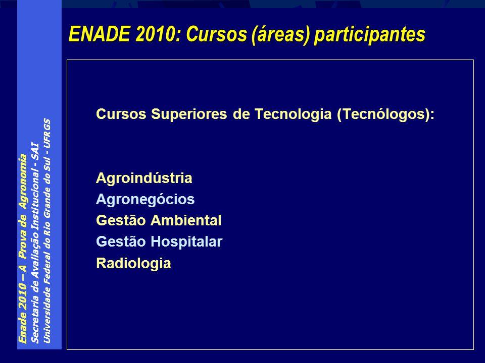 Enade 2010 – A Prova de Agronomia Secretaria de Avaliação Institucional - SAI Universidade Federal do Rio Grande do Sul - UFRGS Cursos Superiores de T