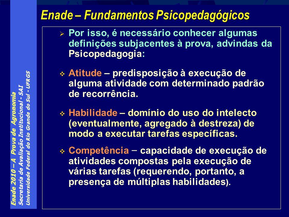 Enade 2010 – A Prova de Agronomia Secretaria de Avaliação Institucional - SAI Universidade Federal do Rio Grande do Sul - UFRGS Por isso, é necessário