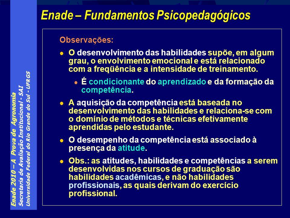 Enade 2010 – A Prova de Agronomia Secretaria de Avaliação Institucional - SAI Universidade Federal do Rio Grande do Sul - UFRGS Observações: O desenvo