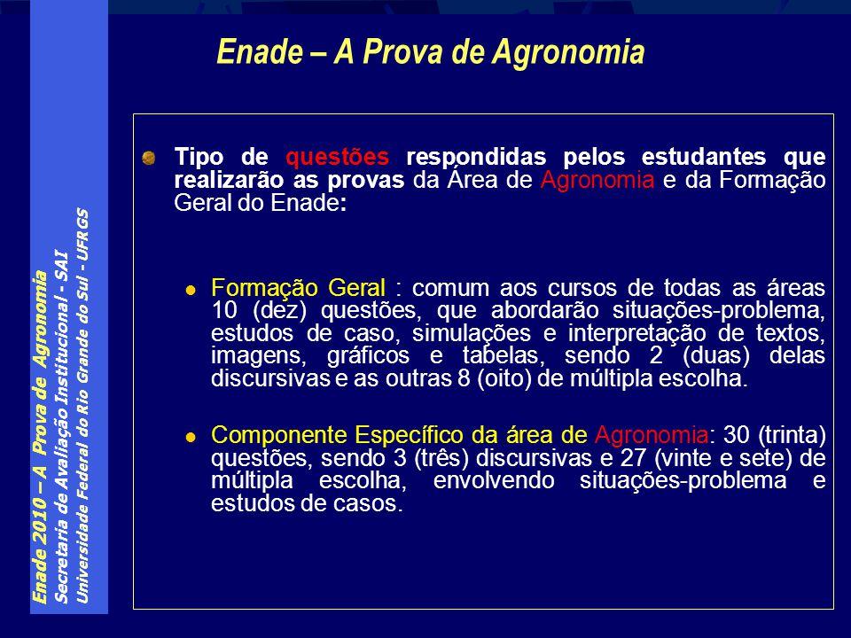 Enade 2010 – A Prova de Agronomia Secretaria de Avaliação Institucional - SAI Universidade Federal do Rio Grande do Sul - UFRGS Tipo de questões respo