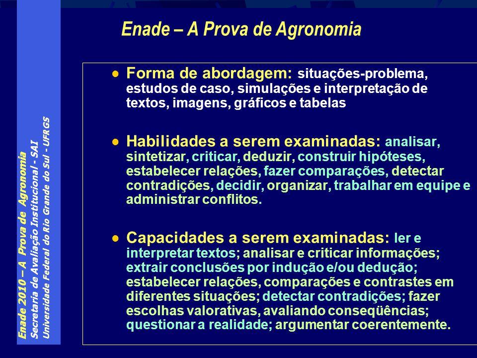 Enade 2010 – A Prova de Agronomia Secretaria de Avaliação Institucional - SAI Universidade Federal do Rio Grande do Sul - UFRGS Forma de abordagem: si