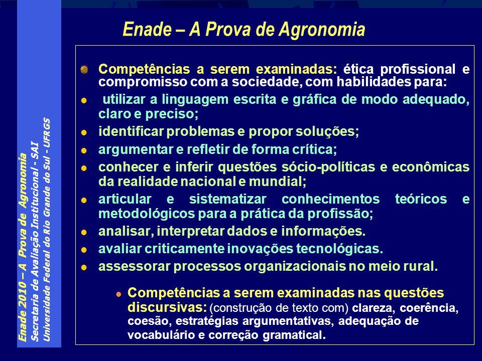 Enade 2010 – A Prova de Agronomia Secretaria de Avaliação Institucional - SAI Universidade Federal do Rio Grande do Sul - UFRGS Competências a serem e