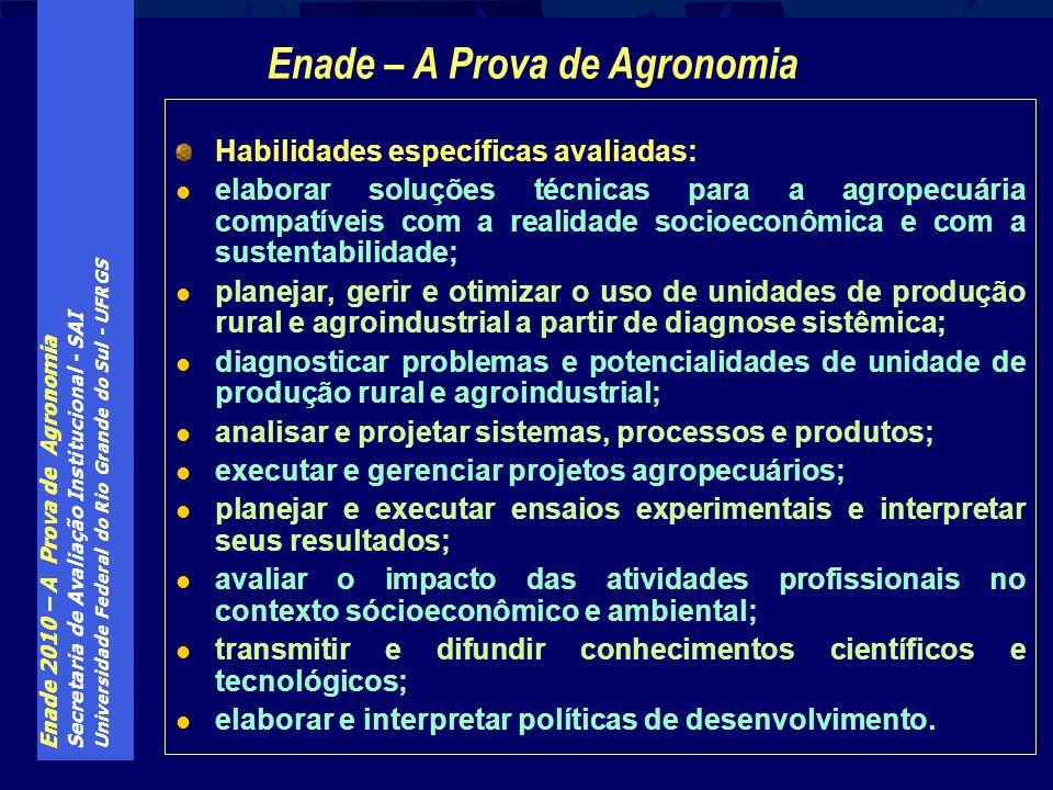 Enade 2010 – A Prova de Agronomia Secretaria de Avaliação Institucional - SAI Universidade Federal do Rio Grande do Sul - UFRGS Habilidades específica