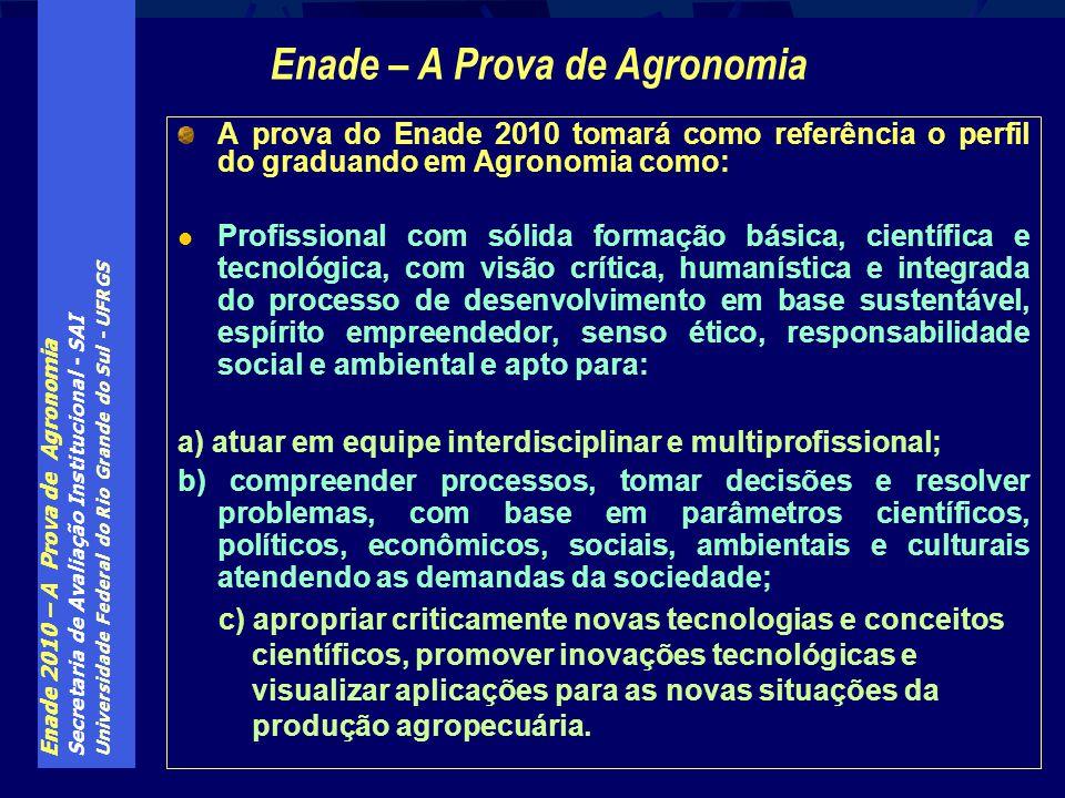 Enade 2010 – A Prova de Agronomia Secretaria de Avaliação Institucional - SAI Universidade Federal do Rio Grande do Sul - UFRGS A prova do Enade 2010