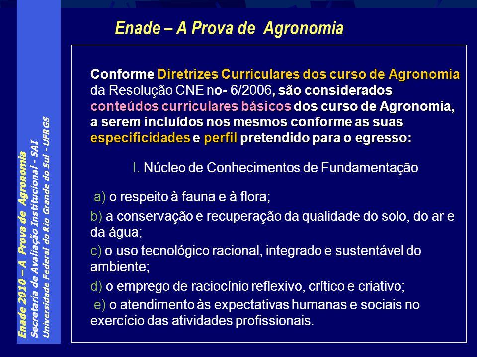 Enade 2010 – A Prova de Agronomia Secretaria de Avaliação Institucional - SAI Universidade Federal do Rio Grande do Sul - UFRGS Conforme Diretrizes Cu
