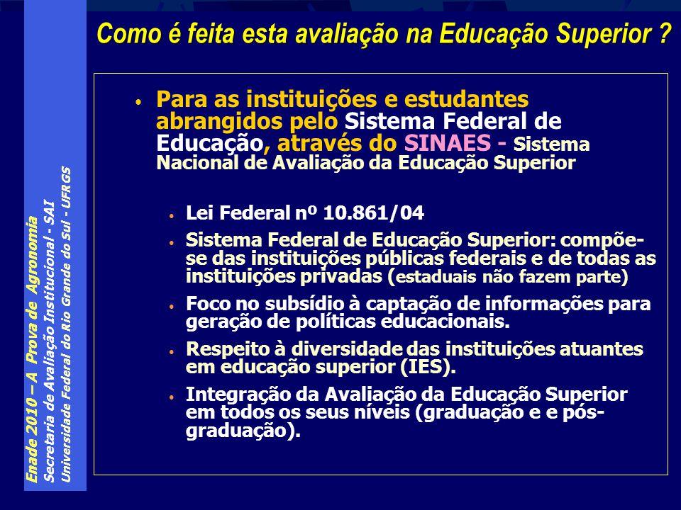 Enade 2010 – A Prova de Agronomia Secretaria de Avaliação Institucional - SAI Universidade Federal do Rio Grande do Sul - UFRGS Estudantes de final de primeiro ano dos cursos (ingressantes): Estudantes de final de primeiro ano dos cursos (ingressantes): aqueles que até o dia 1º/ago/2010 haviam concluído entre 7% e 22% da carga horária mínima do currículo do curso Estudantes de último ano dos cursos (concluintes): Estudantes de último ano dos cursos (concluintes): aqueles que até o dia 1º/ago/2010 haviam concluído pelo menos 80% da carga horária mínima do currículo do curso ou que sejam formandos no segundo semestre de 2010 ENADE – Quem deve prestar o exame