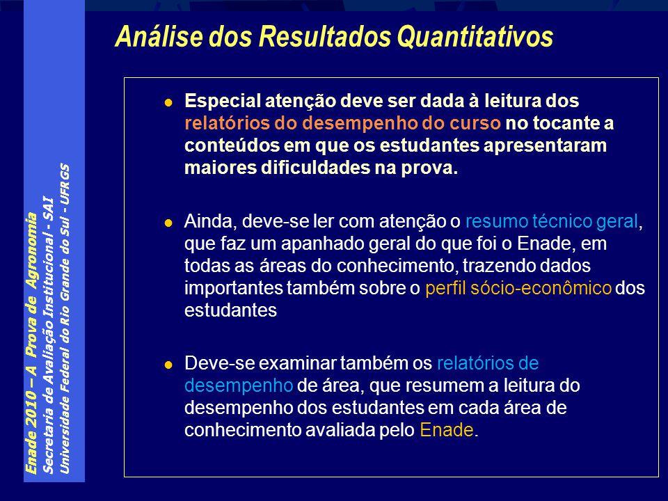 Enade 2010 – A Prova de Agronomia Secretaria de Avaliação Institucional - SAI Universidade Federal do Rio Grande do Sul - UFRGS Especial atenção deve