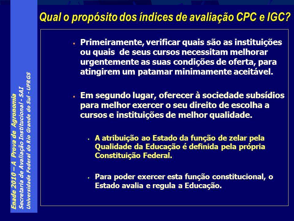 Enade 2010 – A Prova de Agronomia Secretaria de Avaliação Institucional - SAI Universidade Federal do Rio Grande do Sul - UFRGS Primeiramente, verific